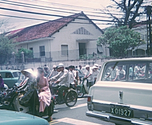 Scooters, in Saigon, in year 1970.